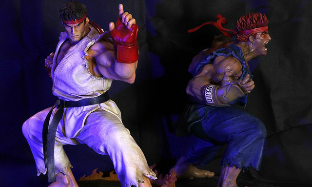Kinetiquettes The Beast Unleashed 【隆/杀意隆】Ryu、Evil Ryu 1/4 全身雕像